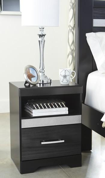 starberry black one drawer night stand b304 91. Black Bedroom Furniture Sets. Home Design Ideas