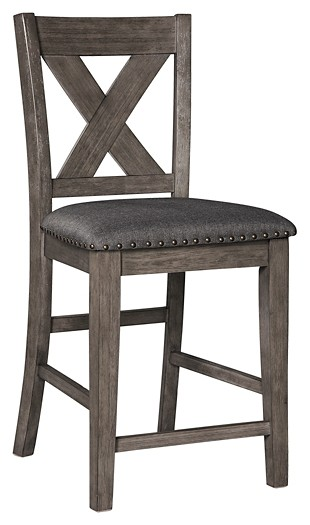 Caitbrook Dark Gray Upholstered Barstool 2 Cn D388