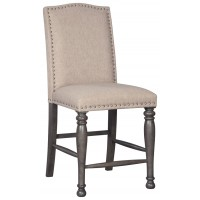 Audberry - Dark Gray - Upholstered Barstool (2/CN)