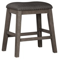 Caitbrook - Dark Gray - Upholstered Stool (2/CN)