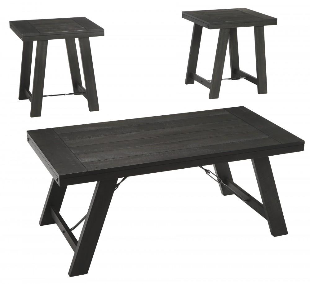 Noorbrook - Black/Pewter - Occasional Table Set (3/CN)