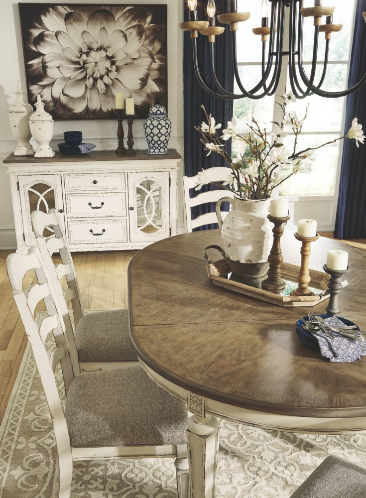 Realyn Chipped White Oval Dining Room Ext Table D743