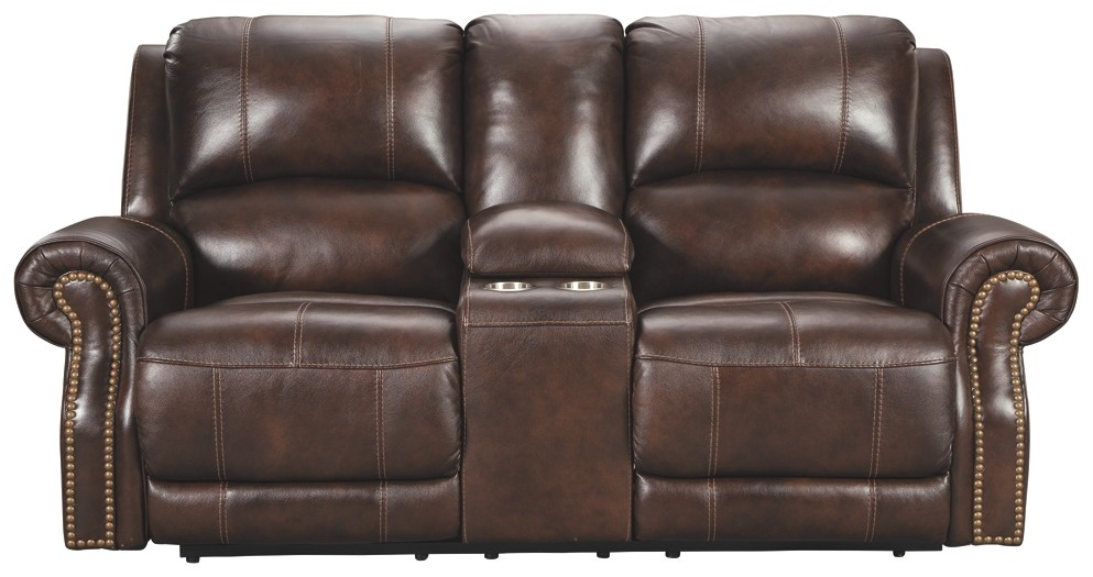 Fine Buncrana Chocolate Pwr Rec Loveseat Con Adj Hdrst Gmtry Best Dining Table And Chair Ideas Images Gmtryco