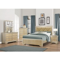 Abel Gold Dresser Mirror Queen Bed