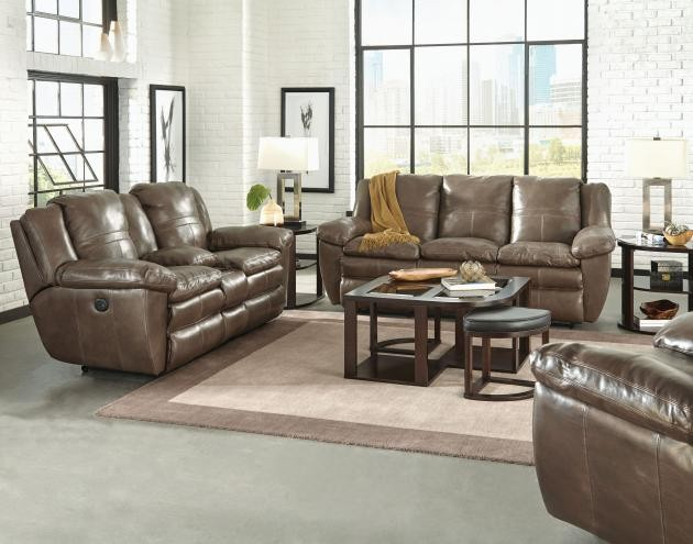 Aria Smoke Lay-Flat Italian Leather Reclining Sofa & Reclining Loveseat w/  Console