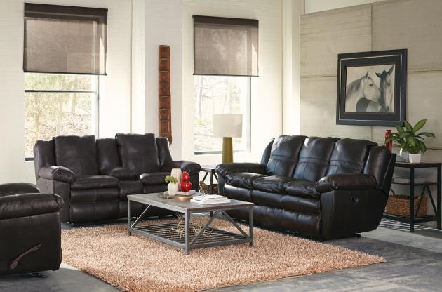 Aria Chocolate Lay-Flat Italian Leather Reclining Sofa & Reclining Loveseat  w/ Console