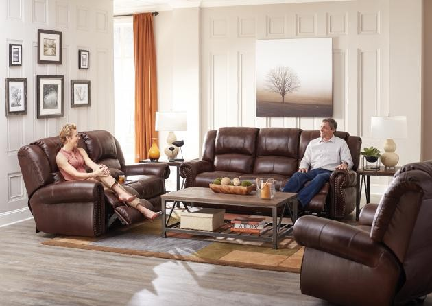 Messina Walnut Lay-Flat Italian Leather Power Reclining Sofa ...