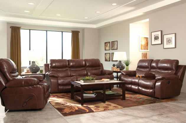 Patton Walnut Lay-Flat Italian Leather Reclining Sofa & Reclining Loveseat  w/ Console