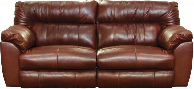 Milan Walnut Lay-Flat Italian Leather Reclining Sofa   4341(W ...