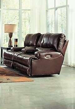 Wembley Walnut Lay-Flat Italian Leather Reclining Sofa & Reclining Loveseat  w/ Console