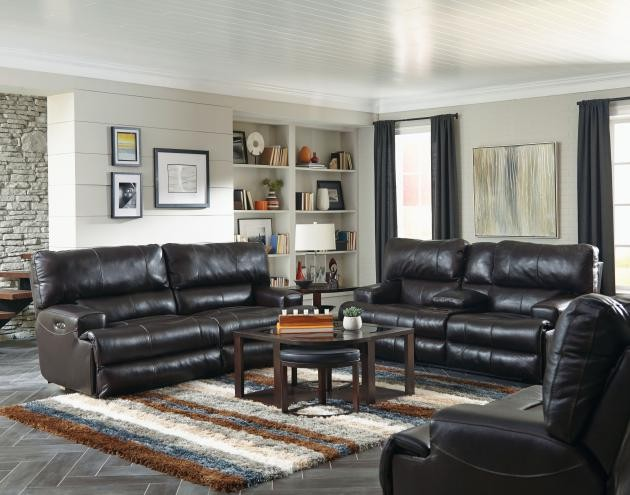 Wembley Chocolate Lay-Flat Italian Leather Reclining Sofa & Reclining  Loveseat w/ Console
