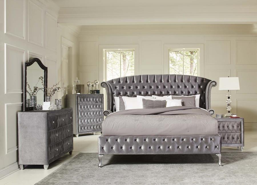 Deanna Bedroom Collection Deanna Contemporary Metallic