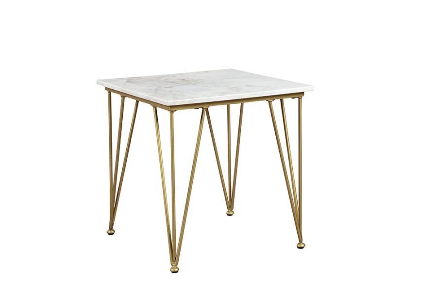 Scott Living Modern White And Gold Side Table