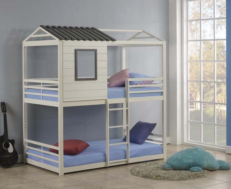 Belton Light Grey Twin Over Twin Bunk Bed 461161 Bunk Beds New