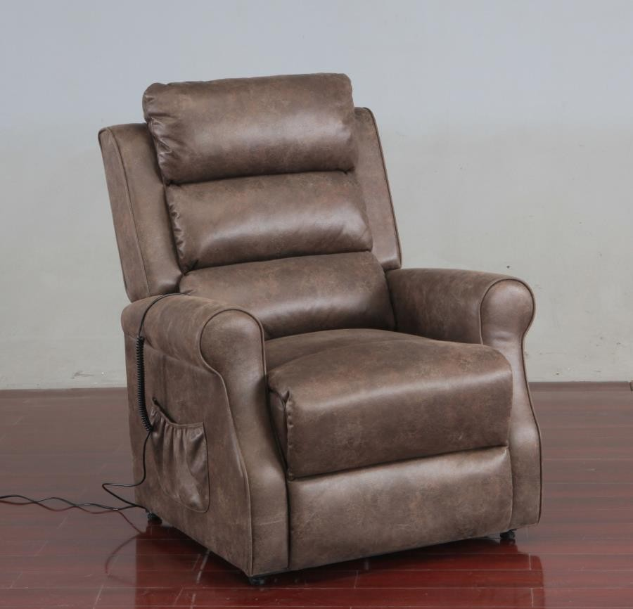 LIVING ROOM : POWER LIFT RECLINER - Casual Brown Power Lift Recliner