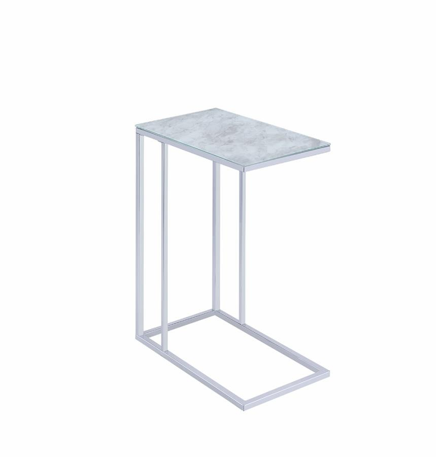 Mid Century Modern Concrete And Black Accent Table 930082 Accent