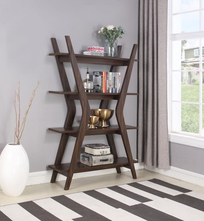 Home Office Bookcases Mid Century Modern Dark Walnut Bookcase