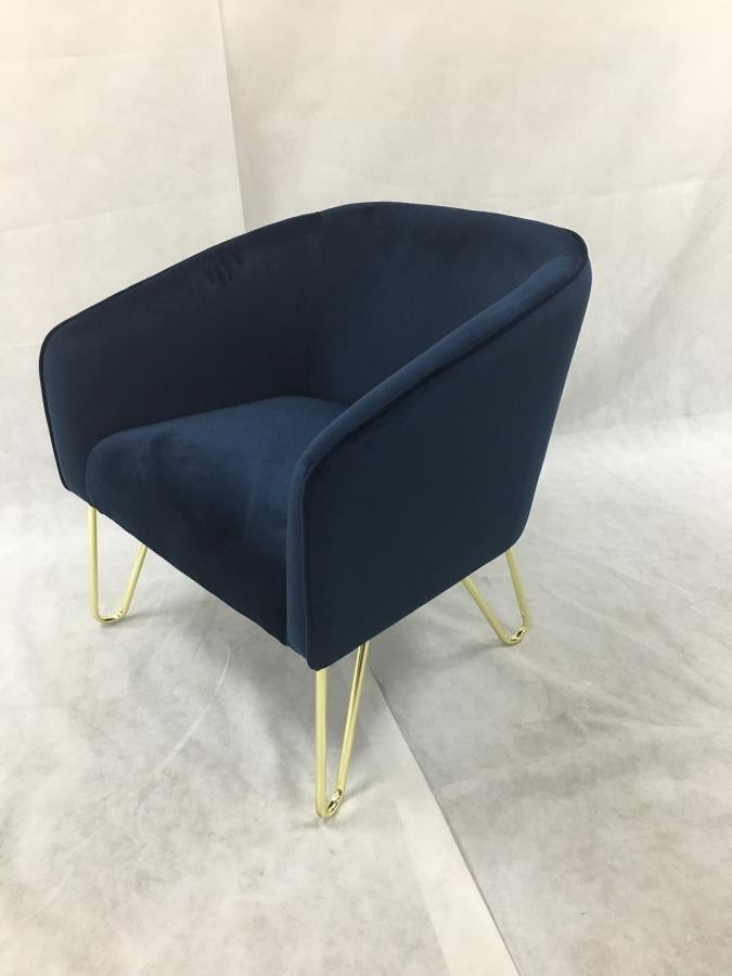 Blue Modern Accent Chairs.Modern Blue And Brass Accent Chair