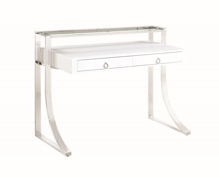 GEMMA COLLECTION - Contemporary Glossy White Writing Desk
