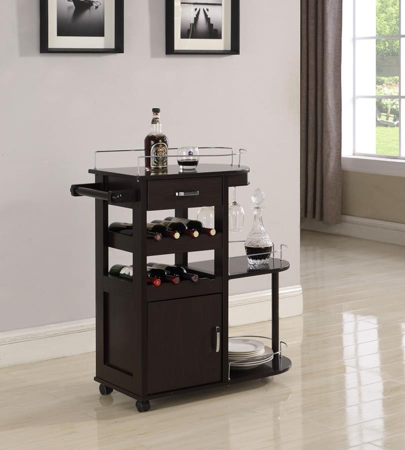 REC ROOM: SERVING CARTS - Transitional Cappuccino Serving Cart