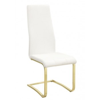 Strange Chanel Modern White And Rustic Brass Side Chair Pack Of 4 Gamerscity Chair Design For Home Gamerscityorg