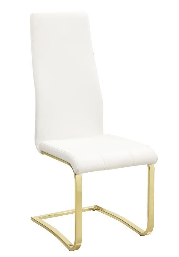 Fabulous Chanel Modern White And Rustic Brass Side Chair Pack Of 4 Gamerscity Chair Design For Home Gamerscityorg