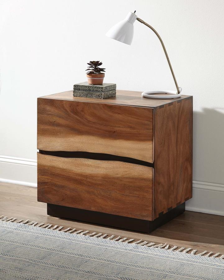 rustic smoky walnut nightstand