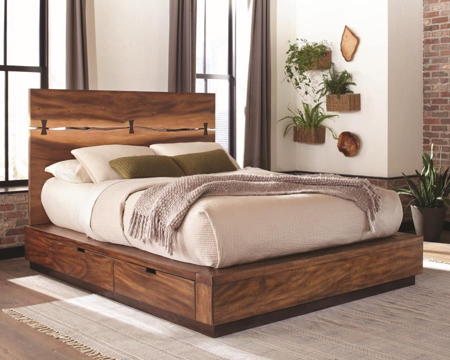 Rustic Smoky Walnut Queen Storage Bed 212430sq