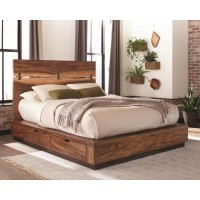 Rustic Smoky Walnut Queen Storage Bed