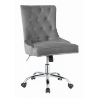 HOME OFFICE : CHAIRS - Modern Grey Velvet Office Chair