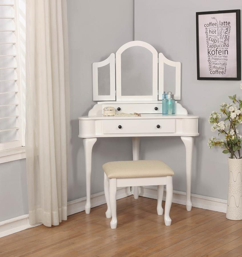 Transitional Cream and White Vanity Set | 930132 | Bedroom Vanities ...