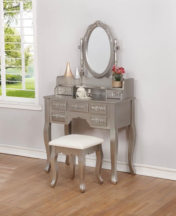 Contemporary Metallic Silver Vanity Set