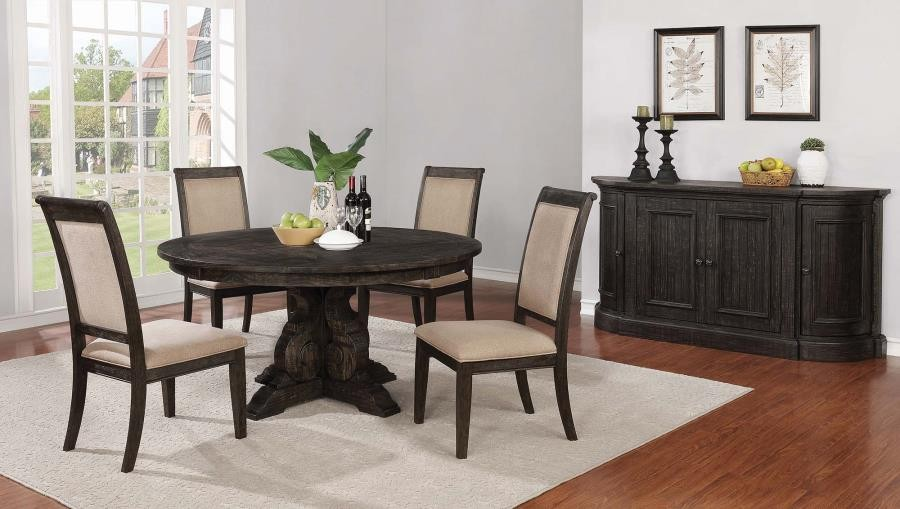 Whitney Traditional Burnished Black Round Dining Table
