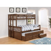 ATKIN BUNK BED - Atkin Weathered Walnut Twin-over-Full Bunk Bed