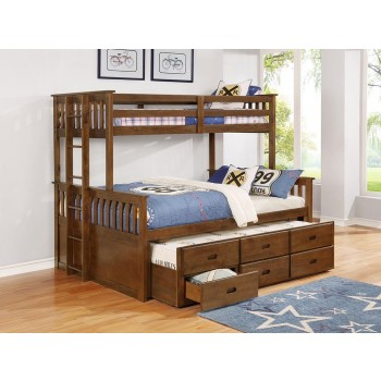 ATKIN BUNK BED - Atkin Weathered Walnut Twin XL-over-Queen Bunk Bed