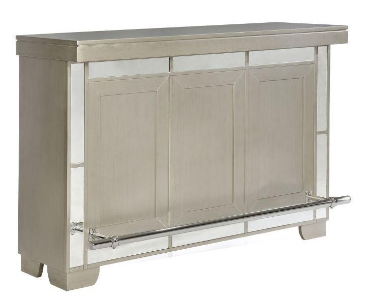 Contemporary Metallic Platinum Bar Unit