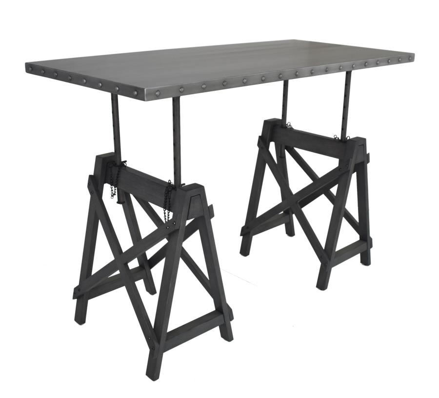 MICHAEL COLLECTION - Industrial Galvanized Grey Adjustable Desk