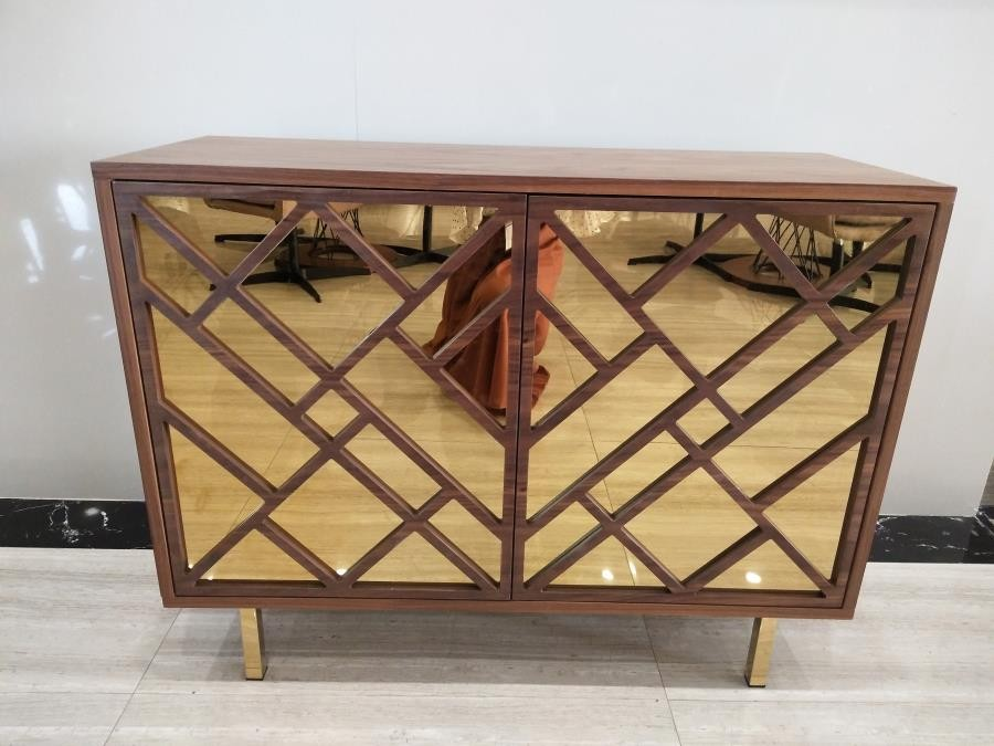 . Contemporary Walnut Accent Cabinet