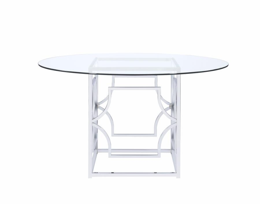 bases for dining room tables | Modern Chrome Dining Table Base | 190701 | Table Tops and ...