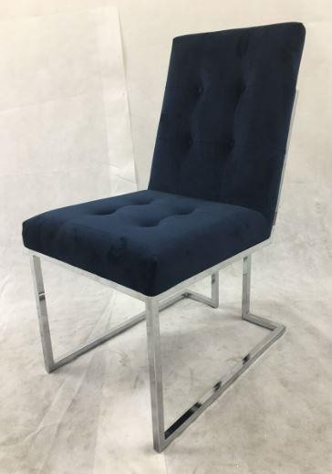 Modern Ink Blue and Chrome Dining Chair (Pack of 2)