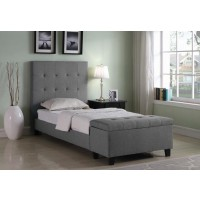 HALPERT UPHOLSTERED BED - Halpert Transitional Light Grey Twin Bed
