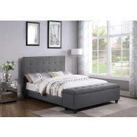 HALPERT UPHOLSTERED BED - Halpert Transitional Light Grey Queen Bed
