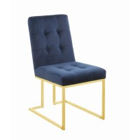 Modern Ink Blue and Gold Dining Chair (Pack of 2)