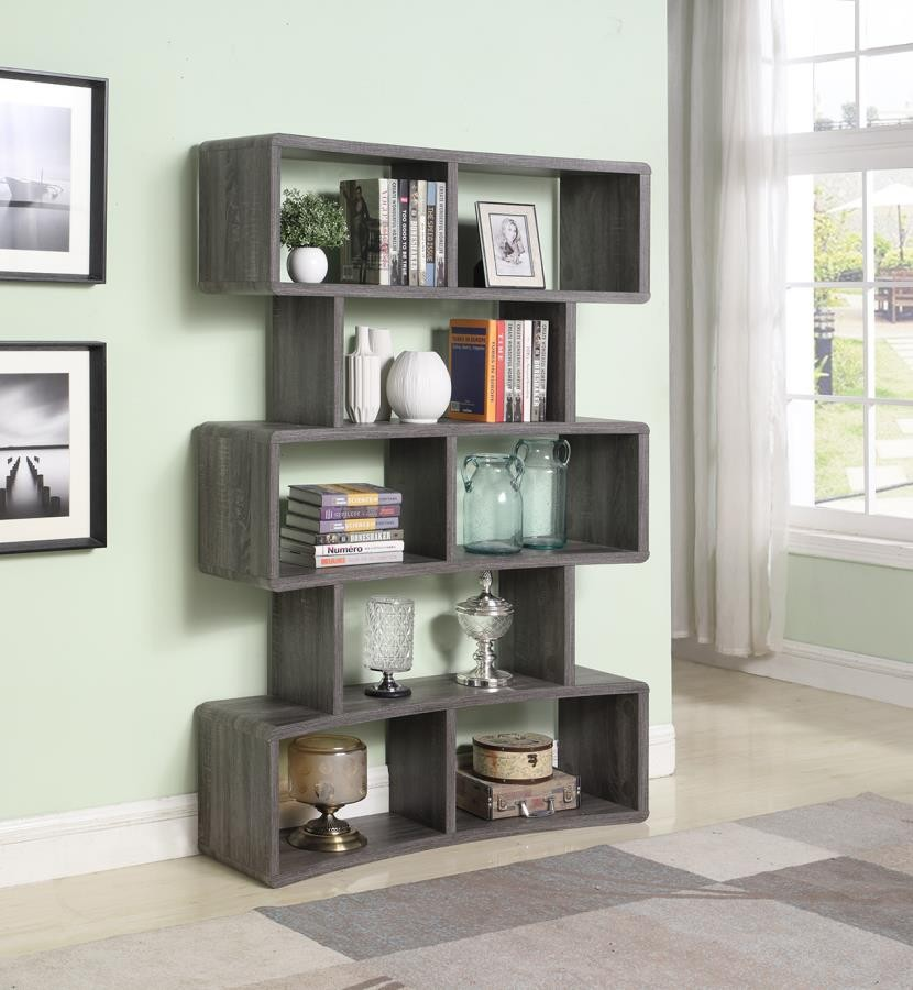 HOME OFFICE : BOOKCASES - Weathered Grey Wide Bookcase