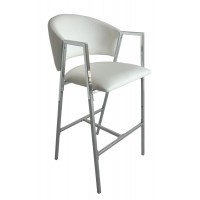 Contemporary White and Chrome Bar-Height Stool (Pack of 2)