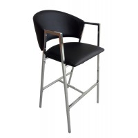 Contemporary Black and Chrome Bar-Height Stool (Pack of 2)