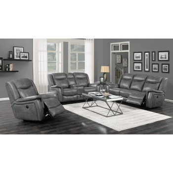 CONRAD MOTION COLLECTION - Conrad Transitional Grey Motion Loveseat