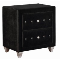 DEANNA BEDROOM COLLECTION - Deanna Contemporary Black and Metallic Nightstand