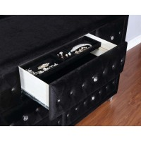 DEANNA BEDROOM COLLECTION - Deanna Contemporary Black and Metallic Dresser