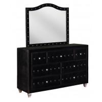 DEANNA BEDROOM COLLECTION - Deanna Contemporary Black and Metallic Mirror